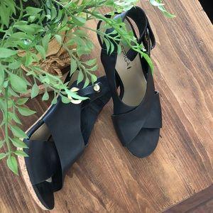 Sz8.5 Via spiga leather shoes with cork heels
